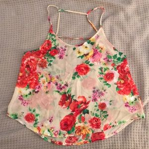 Floral tank with open back